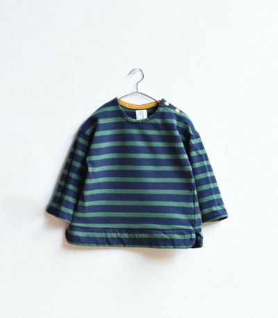 授乳服〈ベビー服/こども服〉 バスクシャツ・ミニ ナチュラル×ネイビーボーダー 90-100cmサイズ着用 92cm