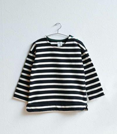 授乳服〈ベビー服/こども服〉 バスクシャツ・ミニ ナチュラル×ネイビーボーダー 70-80cmサイズ着用 70cm