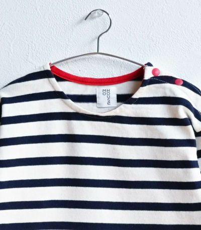 授乳服〈ベビー服/こども服〉 バスクシャツ・ミニ ネイビー×グリーンボーダー 90-100cmサイズ着用