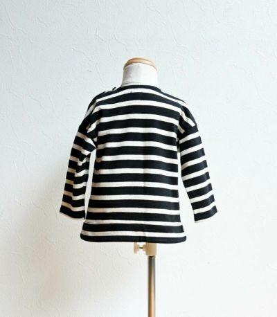 授乳服〈ベビー服/こども服〉 バスクシャツ・ミニ ブラック×ナチュラルボーダー 70-80cmサイズ着用 70cm