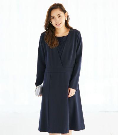 フロントスタイル 授乳服 クラシカルレース ネイビー 159cm