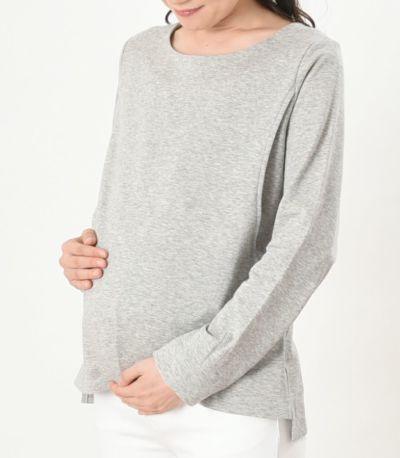 産前も産後もきれいなシルエットの、マタニティ兼用授乳服。