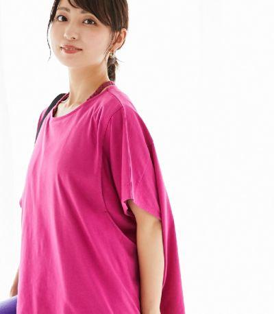 授乳服 ゆったりシルエットT ラズベリーピンク 164cm