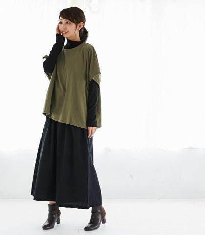 フロントスタイル 授乳服 ゆったりシルエットT ブラック 164cm