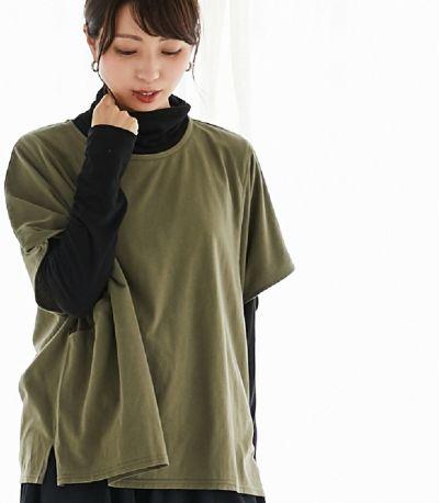 サイドスタイル 授乳服 ゆったりシルエットT ブラック 164cm
