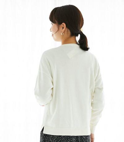 バックスタイル授乳服 シンプルVニット オフホワイト 162cm