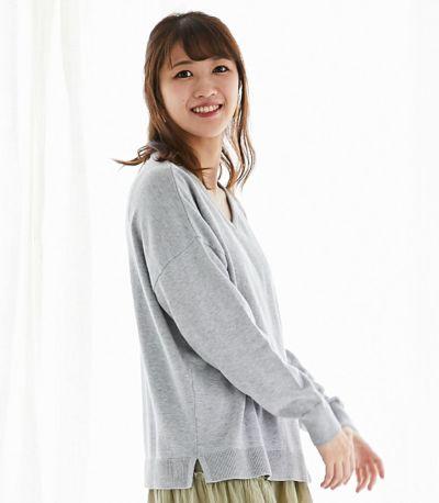 サイドスタイル 授乳服 シンプルVニット ライトグレー 164cm