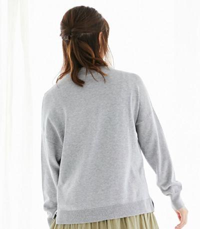 バックスタイル 授乳服 シンプルVニット ライトグレー 164cm