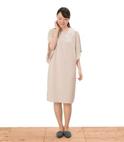フロントスタイル 授乳服 パウダースクリーンワンピ アイボリー 164cm