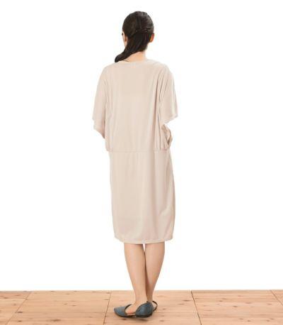 バックスタイル 授乳服 パウダースクリーンワンピ アイボリー 164cm