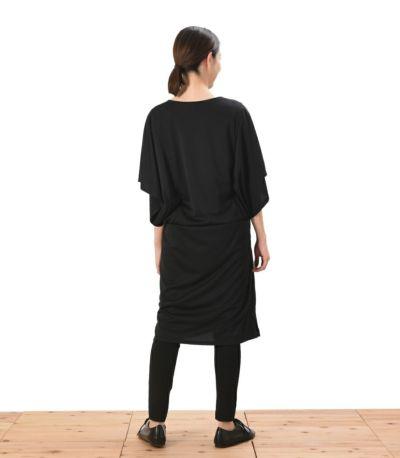 バックスタイル 授乳服 パウダースクリーンワンピ ブラック 162cm