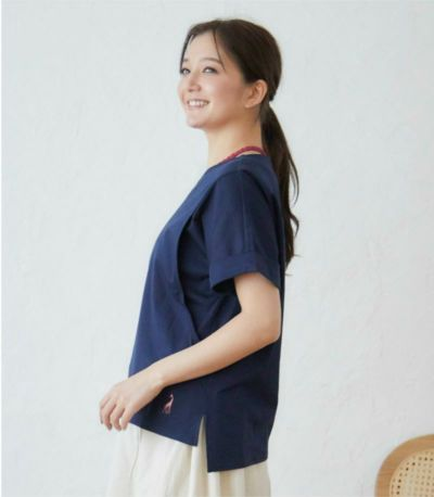 バックスタイル 授乳服 プレーリーVネック シマウマ×ターコイズ 162cm