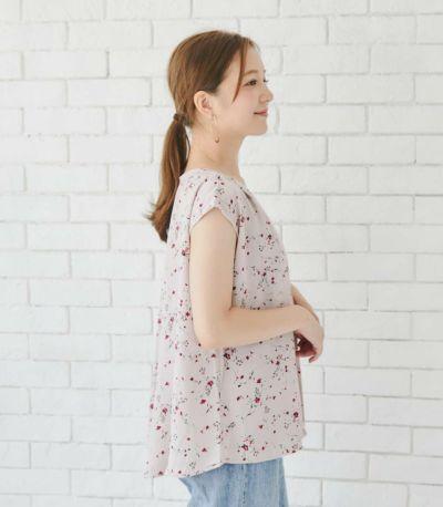 バックスタイル 授乳服 クラール ホワイト×フラワー 162㎝