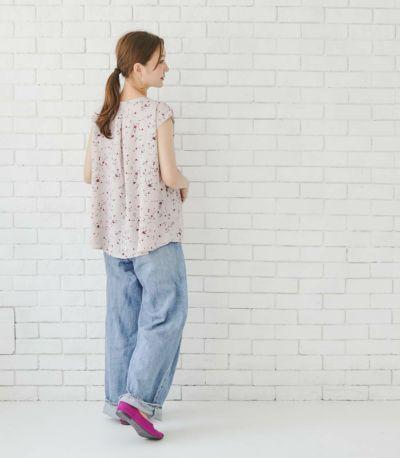 フロントスタイル 授乳服 クラール ピンク×フラワー 164㎝