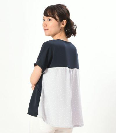 バックスタイル 授乳服 シードルドット ネイビー  164cm