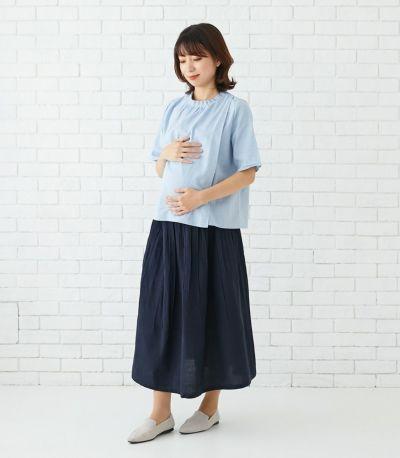 授乳口は授乳服に見えないデザインのレイヤータイプ。
