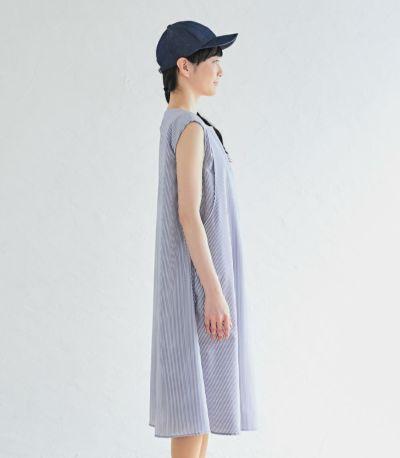 サイドスタイル 授乳服 ノースリーブAラインワンピース ブルー 163cm