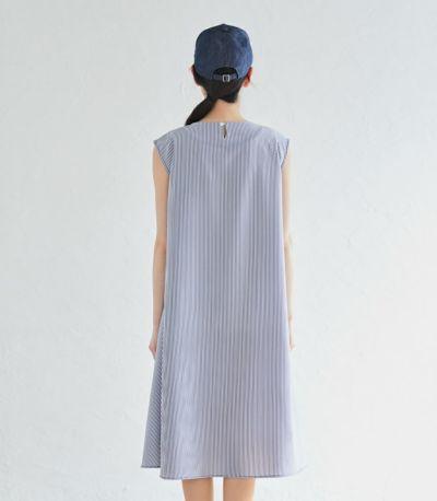 バックスタイル 授乳服 ノースリーブAラインワンピース ブルー 163cm