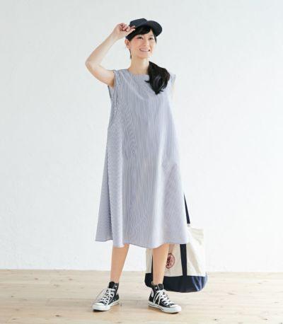 授乳服 ノースリーブAラインワンピース ブルー 163cm