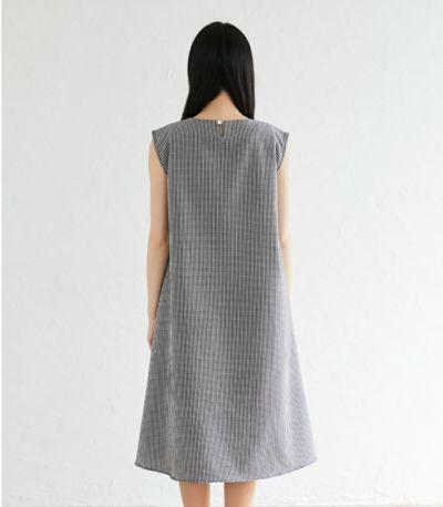 バックスタイル 授乳服 ノースリーブAラインワンピース ブラック 163cm