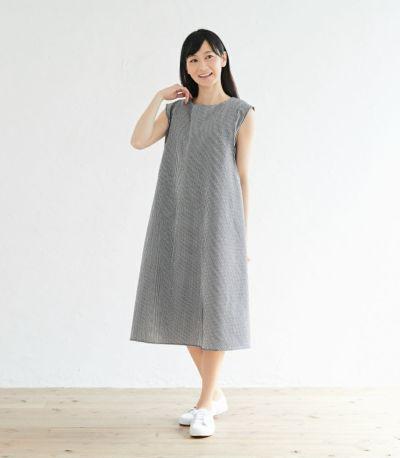 授乳服 ノースリーブAラインワンピース ブラック 163cm
