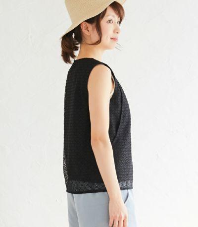 サイドスタイル 授乳服 ノースリーブレーストップス ブラック 164cm