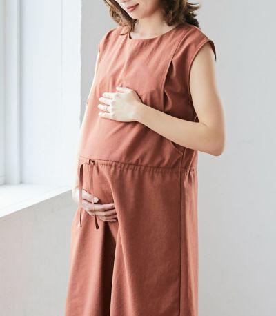 マタニティ(腹囲100cm)対応のマタニティウェア兼用授乳服。