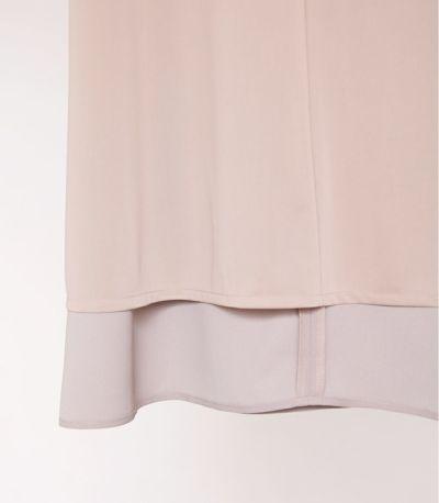 裏地付で透けにくく安心です。授乳服 リボンスリーブワンピース グレージュ