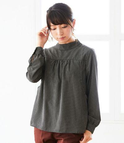 フロントスタイル 授乳服 QOOL Geometric(ジオメトリック)ブラウス ブラック 164cm