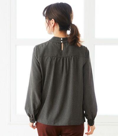 バックスタイル 授乳服 QOOL Geometric(ジオメトリック)ブラウス ブラック 164cm