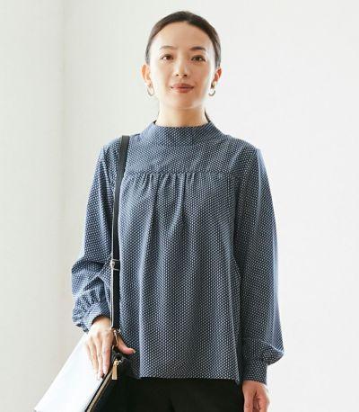 フロントスタイル 授乳服 QOOL Geometric(ジオメトリック)ブラウス ネイビー 160cm