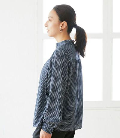 サイドスタイル 授乳服 QOOL Geometric(ジオメトリック)ブラウス ネイビー 160cm