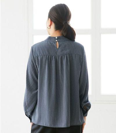 バックスタイル 授乳服 QOOL Geometric(ジオメトリック)ブラウス ネイビー 160cm