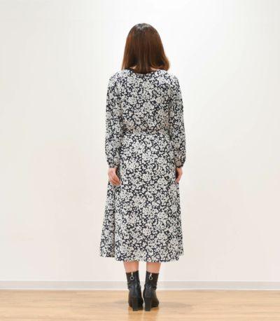 バックスタイル 授乳服 フラワープリントワンピース ネイビー 164cm