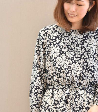 サイドスタイル 授乳服 フラワープリントワンピース ブラウン 160cm