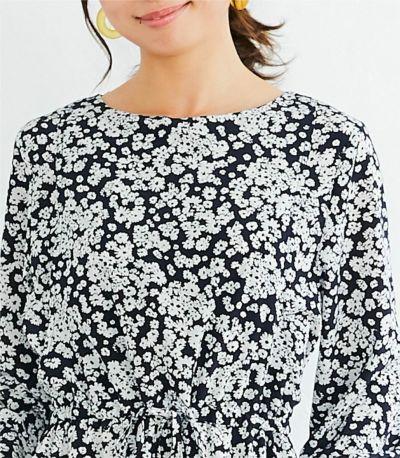 バックスタイル 授乳服 フラワープリントワンピース ブラウン 160cm