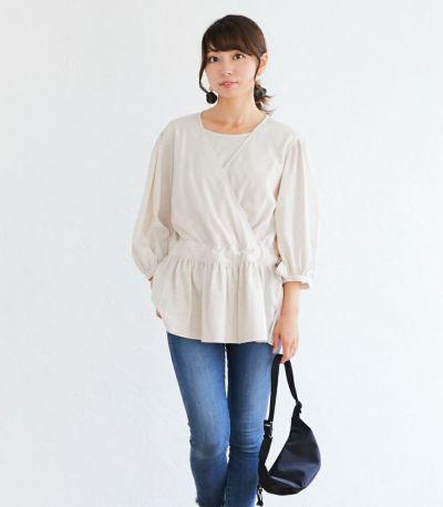 フロントスタイル 授乳服 ナチュラルカシュクールシャツ アイボリー Mサイズ 164cm