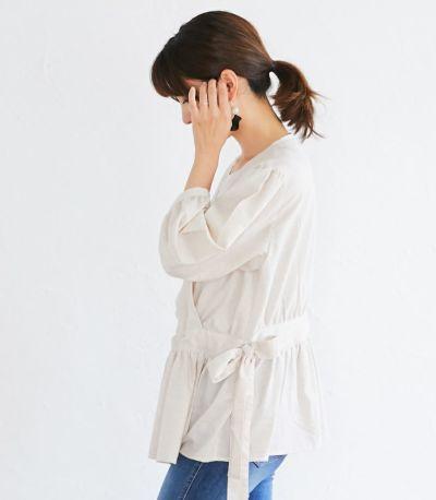 サイドスタイル 授乳服 ナチュラルカシュクールシャツ アイボリー Mサイズ 164cm