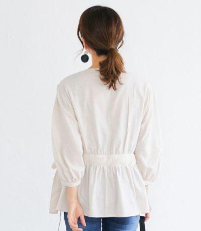 バックスタイル 授乳服 ナチュラルカシュクールシャツ アイボリー Mサイズ 164cm