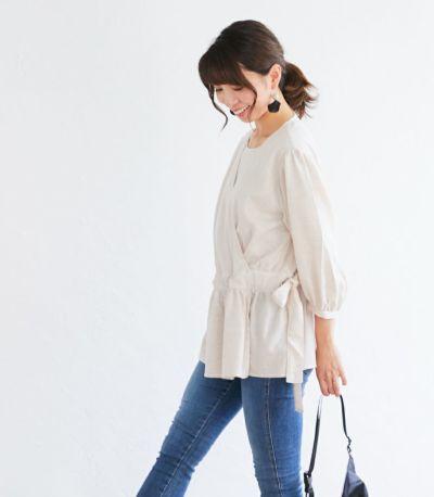 授乳服 ナチュラルカシュクールシャツ アイボリー Mサイズ 164cm