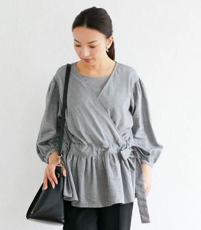 フロントスタイル 授乳服 ナチュラルカシュクールシャツ ブラック Mサイズ 160cm