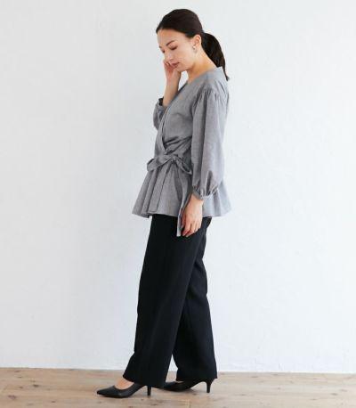 サイドスタイル 授乳服 ナチュラルカシュクールシャツ ブラック Mサイズ 160cm