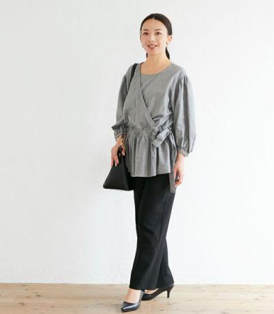 授乳服 ナチュラルカシュクールシャツ ブラック Mサイズ 160cm