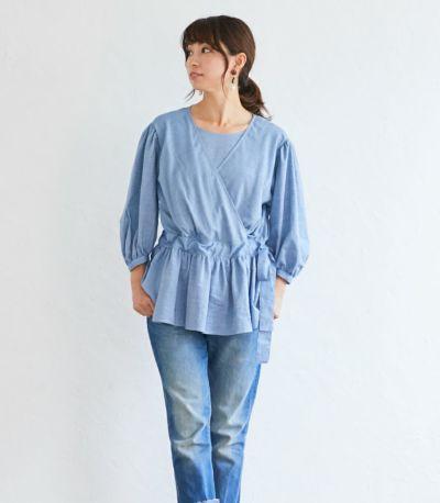 フロントスタイル 授乳服 ナチュラルカシュクールシャツ ネイビー Mサイズ 164cm