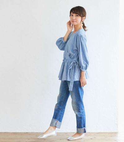 サイドスタイル 授乳服 ナチュラルカシュクールシャツ ネイビー Mサイズ 164cm