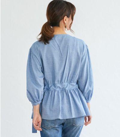 バックスタイル 授乳服 ナチュラルカシュクールシャツ ネイビー Mサイズ 164cm