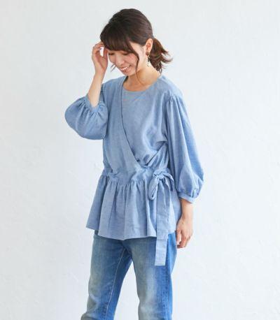 授乳服 ナチュラルカシュクールシャツ ネイビー Mサイズ 164cm