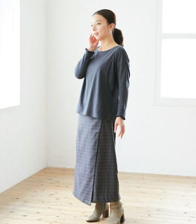 授乳服 フリルカフスカットソー チャコール 160cm