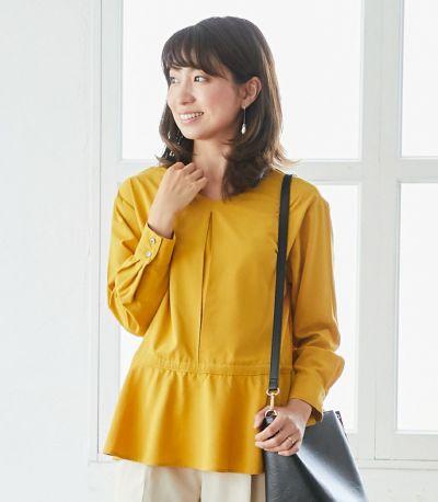 ペプラムトップス 授乳服 日本製