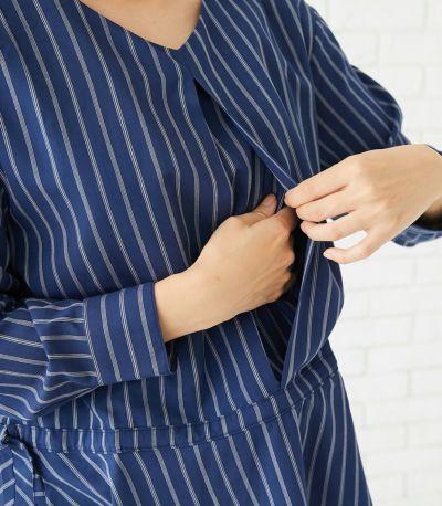 授乳口は授乳口を中央タック奥に配した一見授乳服には見えないタイプの授乳服。